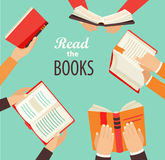 Hands with books. vector illustration