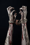 Hands bound,bloody hands, mud, rope, on a black background, isolated, kidnapping, zombie, demon. Hands bound,bloody hands, mud, rope, on a black background Royalty Free Stock Image