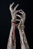 Hands bound,bloody hands, mud, rope, on a black background, isolated, kidnapping, zombie, demon Royalty Free Stock Image