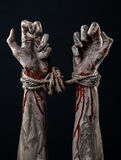 Hands bound,bloody hands, mud, rope, on a black background, isolated, kidnapping, zombie, demon. Hands bound,bloody hands, mud, rope, on a black background Stock Photo