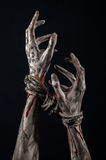 Hands bound,bloody hands, mud, rope, on a black background, isolated, kidnapping, zombie, demon. Hands bound,bloody hands, mud, rope, on a black background Stock Image