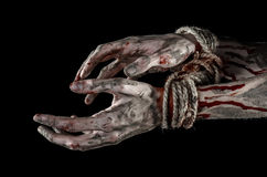 Hands bound,bloody hands, mud, rope, on a black background, isolated, kidnapping, zombie, demon Royalty Free Stock Photos