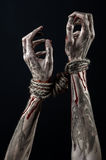 Hands bound,bloody hands, mud, rope, on a black background, isolated, kidnapping, zombie, demon Stock Photography