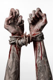 Hands bound,bloody hands, mud, rope, on a white background, isolated, kidnapping, zombie, demon. Hands bound,bloody hands, mud, rope, on a white background Stock Photo