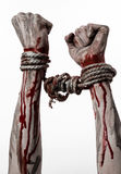 Hands bound,bloody hands, mud, rope, on a white background, isolated, kidnapping, zombie, demon. Hands bound,bloody hands, mud, rope, on a white background Royalty Free Stock Images