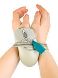 Hands bound by mouse cable Royalty Free Stock Photo
