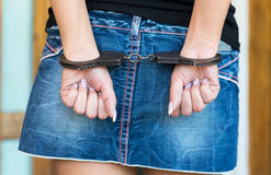 Hands bounded with handcuffs Stock Photography