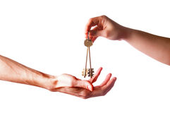 Hands with brass keys Stock Images