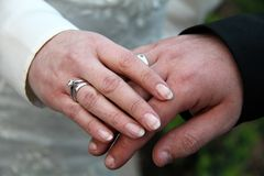 Hands of bridal couple with wedding rings. Photo of the Hands of bridal couple with wedding rings Royalty Free Stock Image