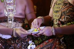 Bridal Couple Will Follow Ceremony to Feed Each Other in Javanese Wedding Royalty Free Stock Image