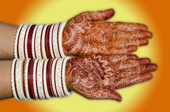 Hands of Bride. An Indian Bride showing hands Royalty Free Stock Image