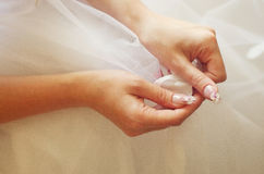 The hands of the bride Royalty Free Stock Photography