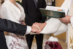 Hands of bride and bridegroom Royalty Free Stock Images