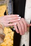 Hands of bride and groom. Royalty Free Stock Photography