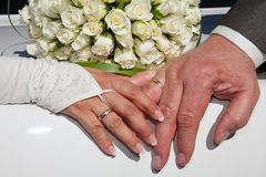 Hands of bride and groom Royalty Free Stock Images
