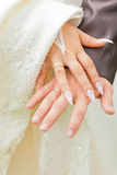 Hands of bride and groom. Royalty Free Stock Image