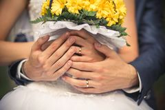 Hands of the bride and groom close-up. They have wedding rings on their fingers. The bride is holding a beautiful yellow bouquet royalty free stock photo