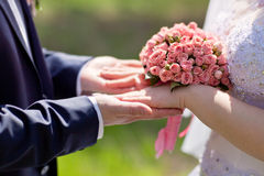 Hands of bride and groom holding a bouquet of pink roses Royalty Free Stock Photo
