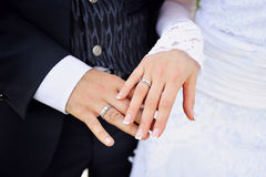 Hands of the bride and groom with rings Royalty Free Stock Photo