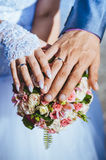 Hands of bride and groom with rings on wedding Royalty Free Stock Photos