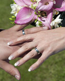 Wedding rings. Hands of bride and groom with wedding rings and bouquet Stock Photo