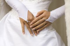 Hands of bride with manicure Royalty Free Stock Photography