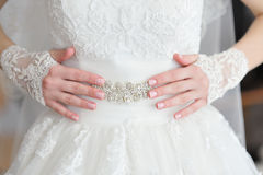 Hands bride with a manicure Stock Image