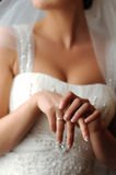Hands of bride, wedding ring Stock Photography