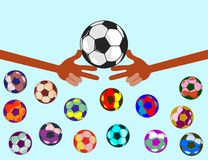Football uniting all countries and peoples. Hands of bright color. The fingers show the figures. next to fly colored balls. isolate in one color vector illustration