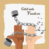 Hands broken of chain to celebrate freedom day. Vector illustration Royalty Free Stock Photos