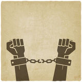 Hands broken chains. freedom concept old Royalty Free Stock Photography