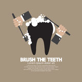 Hands Brushing The Teeth royalty free illustration