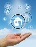 Hands bubbles house Stock Photo