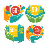 Hands and bubbles. Vector collection of bright discount tags, banners and stickers Stock Photo