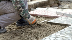 Hands of a builder laying new paving stones carefully placing one in position on a leveled and raked sand base. Image of a Royalty Free Stock Images