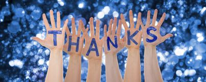 Hands Building Word Thanks, Glittering And Sparkling Bokeh Background stock images