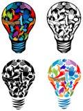 Hands in bulb. Line art illustrated hands in bulb design set stock illustration