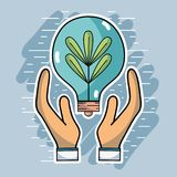 Hands with bulb and plant inside to ecology conservation. Vector illustration Stock Photos