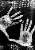 Hands burned. Hands on screen (digital composition Royalty Free Stock Photos