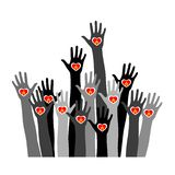 Hands with burning candle. Silhouette of hands with a lighted heart. Symbol of remembrance. Hands people of the world hold candles. flat vector stickers, poster royalty free illustration