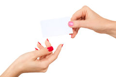 Hands and a business card Royalty Free Stock Images