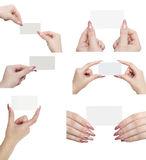 Hands and business card Royalty Free Stock Photo