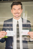 Hands. Business man holding fragments of puzzle. Business solution concept Royalty Free Stock Photos