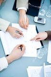 Hands on Business Meeting Stock Photography