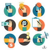 Hands with business object icons set Stock Photo