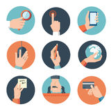 Hands with business object icons set, Flat Design Vector illustration.  royalty free illustration