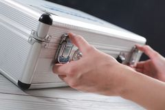 Hands business open luggage storage and documents. stock photos