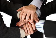 Hands of business people showing unity Royalty Free Stock Photo