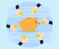 Hands business together saving money on the piggybank. Creating a cash flow. Investing for wealth and profit Royalty Free Stock Photography