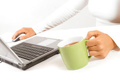 Hands of business woman. With mouse and coffee Royalty Free Stock Photography